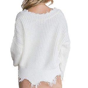 Sweaters - Womens Waffle Knit Tops V-Neck Casual Sweater
